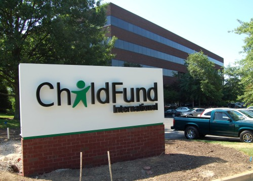 The new ChildFund International sign greets visitors to our International Office in Richmond, Va.