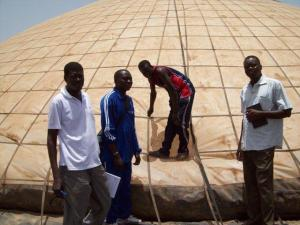 Water pyramid blown erect