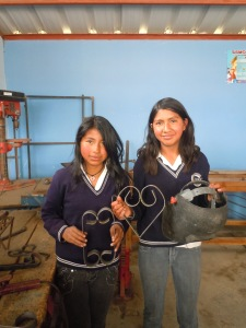 Photo of girls with welded objects