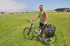 Casey Miller with his bicycle