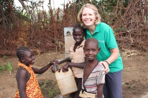 ChildFund CEO and Kenyan boys and girl