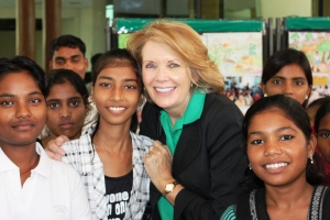 ChildFund President visits with school children.