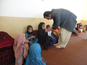 staff  talking with children