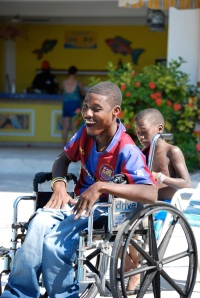 Youth in wheelchair