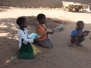 Children with new books and bags