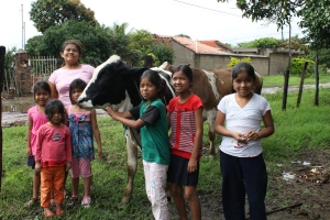 Family with cow