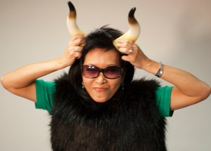 woman dresses as an oxen