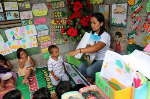 Children attend preschool in the Philippines.