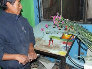 man with clipping shears and flowers