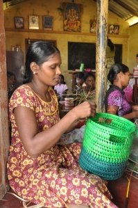 Sri Lankan woman makes basket
