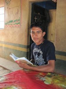 Guatemalan teen studying